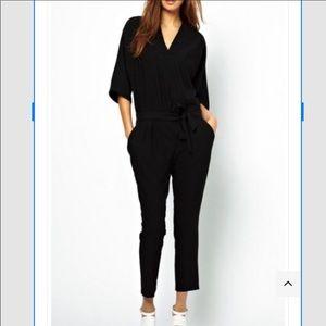 ASOS Black Dolman Sleeve Wrap Tie Jumpsuit 6